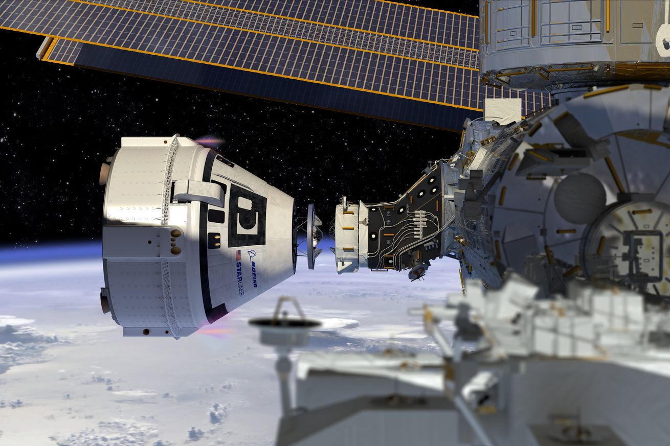 <em>An artistic rendering of Boeing's Starliner docking with the International Space Station.</em>