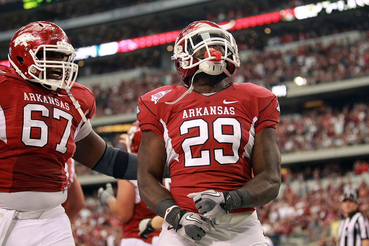 ARLINGTON, TX - OCTOBER 01:  Broderick Green #29 of the Arkansas Razorbacks celebrates a touchdown against the Texas A&M Aggies at Cowboys Stadium on October 1, 2011 in Arlington, Texas.  (Photo by Ronald Martinez/Getty Images)