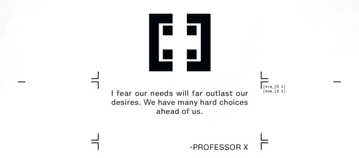 """A quote attributed to Professor X: """"I fear our needs will far outlast our desires. We have many hard choices ahead of us,"""" in Powers of X #4, Marvel Comics (2019)."""