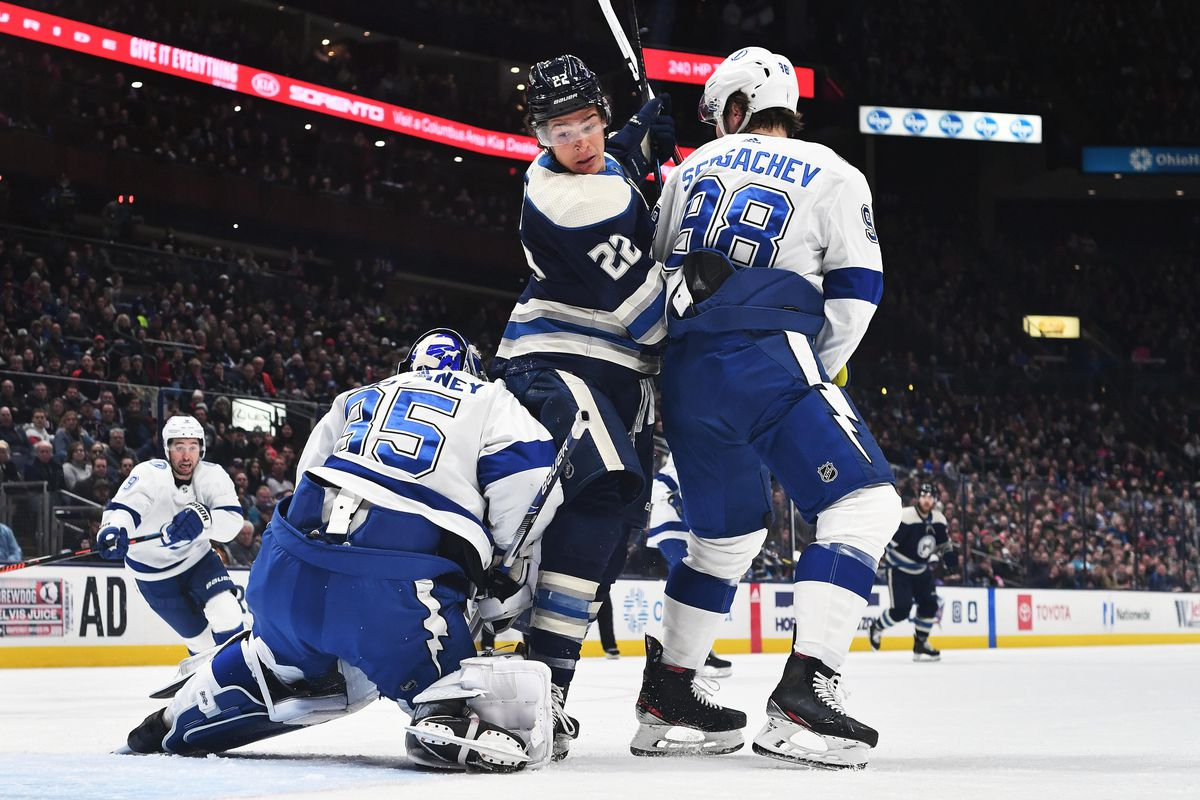 Sonny Milano of the Columbus Blue Jackets skates against the Tampa Bay Lightning on February 10, 2020 at Nationwide Arena in Columbus, Ohio.