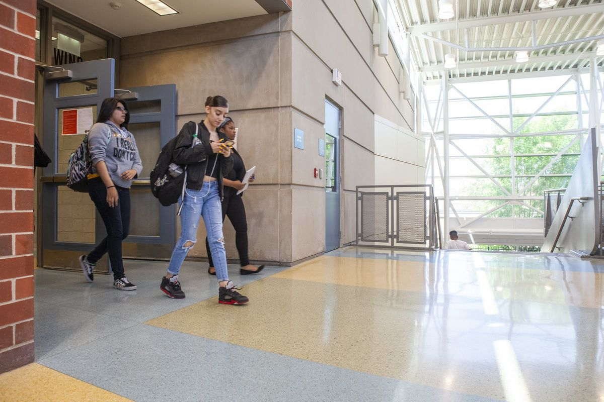 Students in the hallways at North-Grand High School in Chicago in 2019.