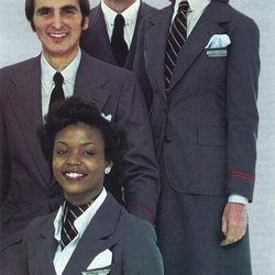 """TWA uniforms in the 80s. Photo via <a href-""""http://airlinespastpresent.blogspot.com/search/label/TWA"""">Airlines Past & Present.</a>"""