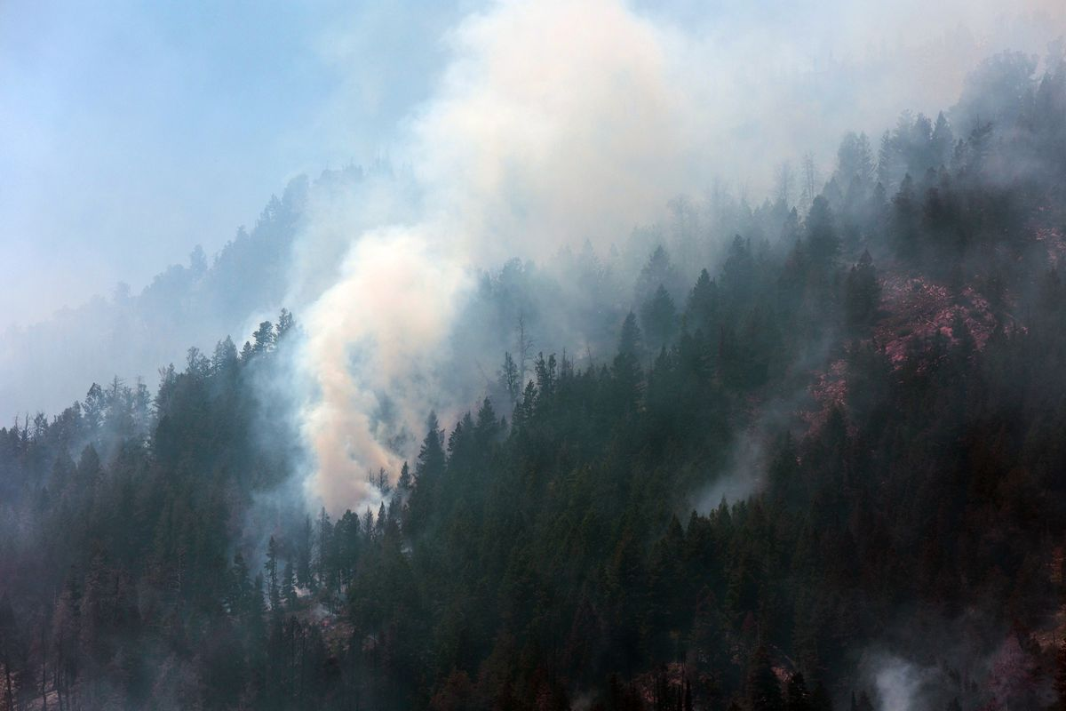 A wildfire burns in Morgan Canyon in Tooele County on Tuesday, June 22, 2021. The fire started after a plane crash.