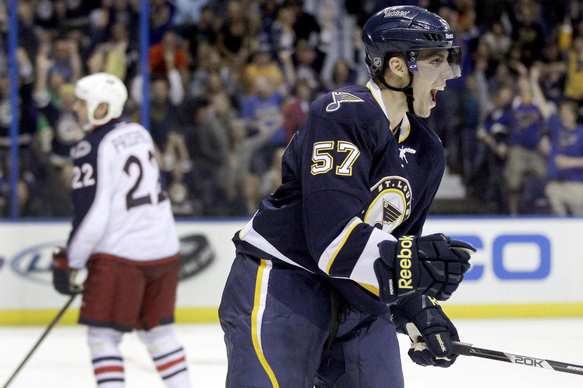 St. Louis Blues' David Perron, right, celebrates after scoring as Columbus Blue Jackets' Vinny Prospal, of the Czech Republic, skates by during the second period of an NHL hockey game, Saturday, March 31, 2012, in St. Louis.