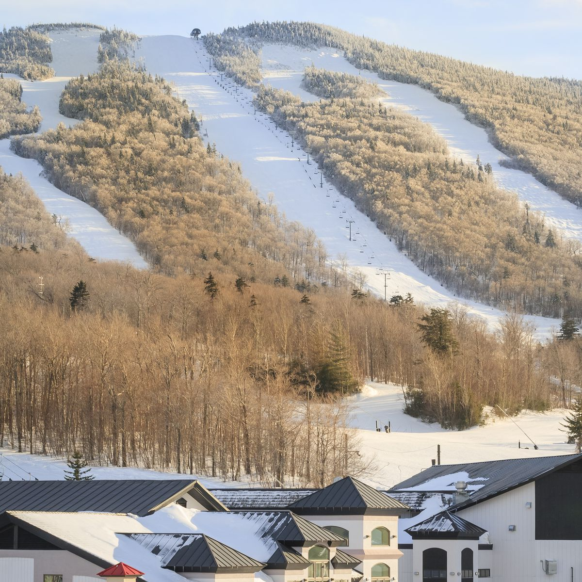 A hillside cleared for ski runs looms above a small mountain town.