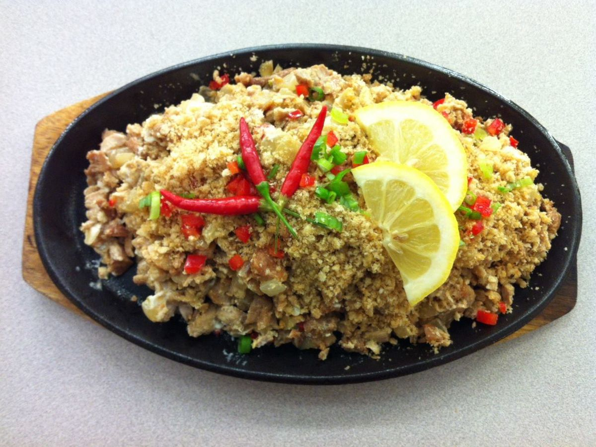 Sizzling chicken sisig at Via Mare
