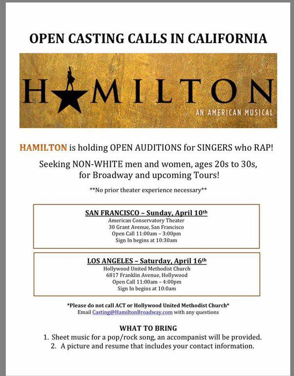 """A Hamilton casting notice specifically asking for """"non-white"""" men and women."""