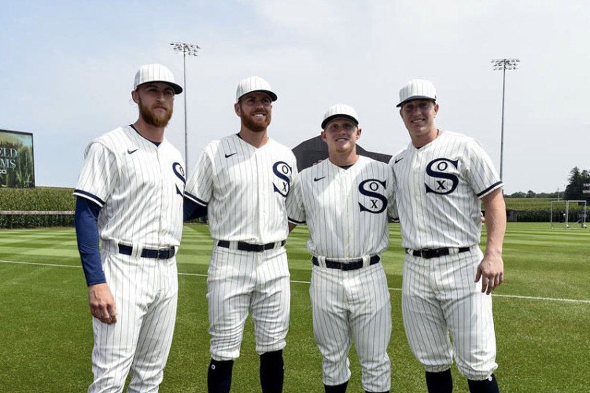 (From left) Michael Kopech, Aaron Bummer, Andrew Vaughn and Zack Collins at the Field of Dreams site Thursday afternoon.
