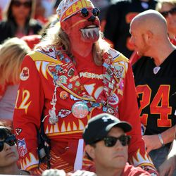 Kansas City Chiefs fans show their support during the second half of the game against the Oakland Raiders at Arrowhead Stadium. The Chiefs won 24-7.