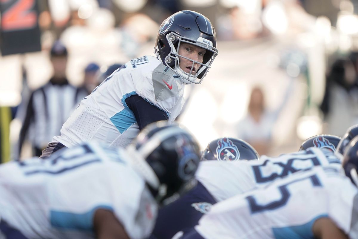 Tennessee Titans quarterback Ryan Tannehill against the Oakland Raiders during the third quarter at Oakland Coliseum.