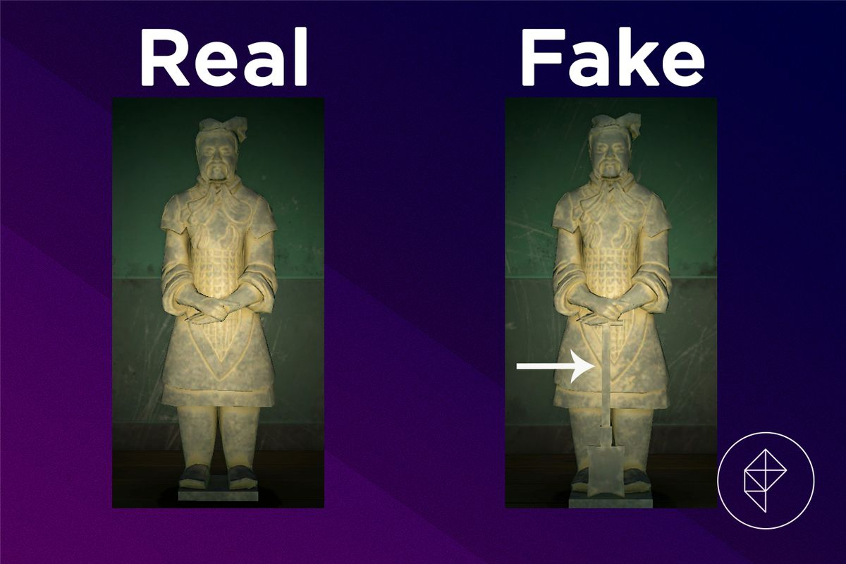A comparison of the real and fake Warrior Statue