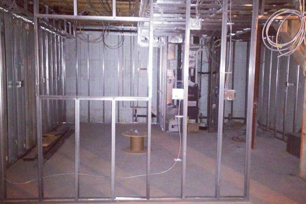 Construction on the basement level of Beta Burger