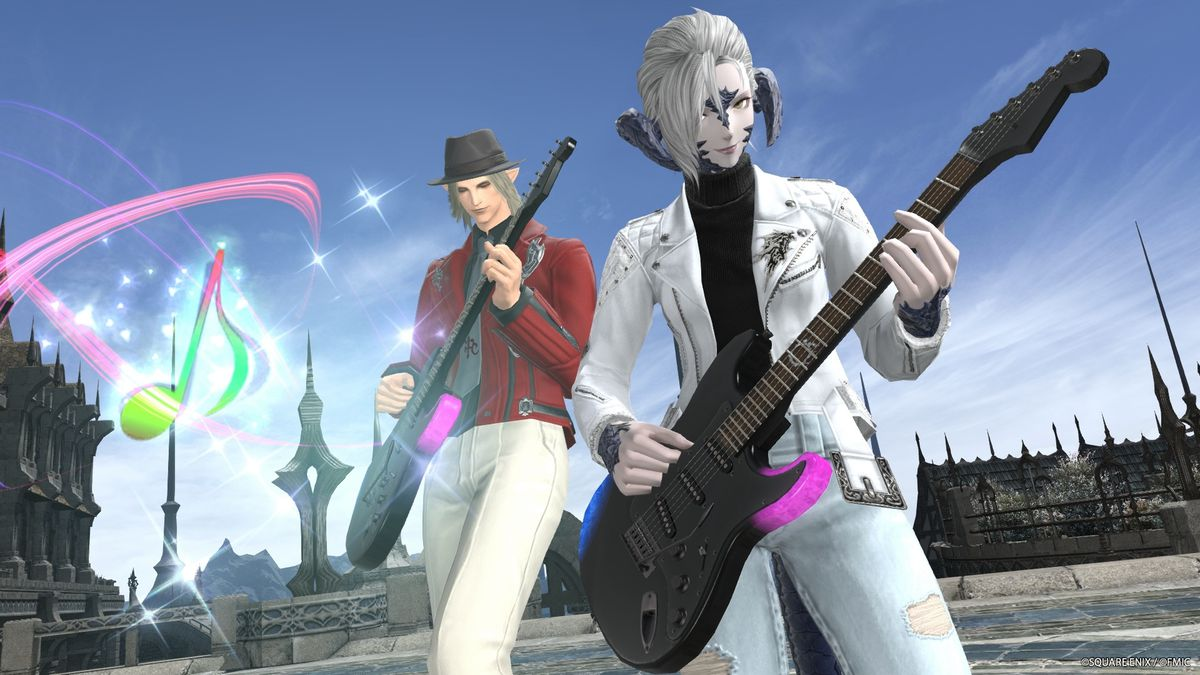 Two Final Fantasy 14 avatars play Fender guitars