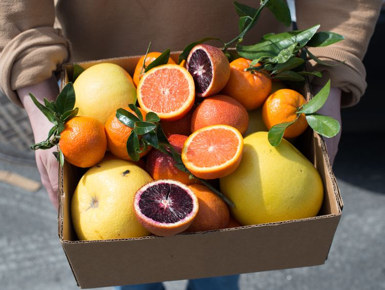 A box of whole and cut up oranges in pink and orange colors