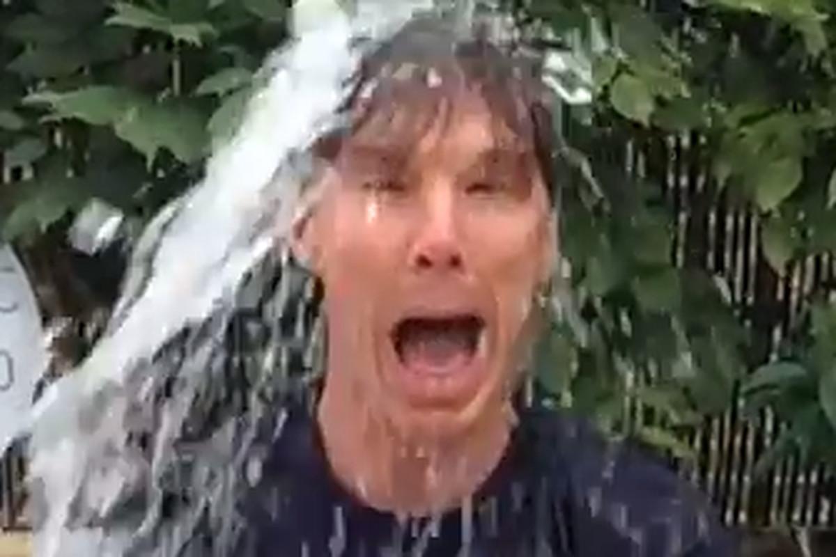 Benedict Cumberbatch gets the ice bucket