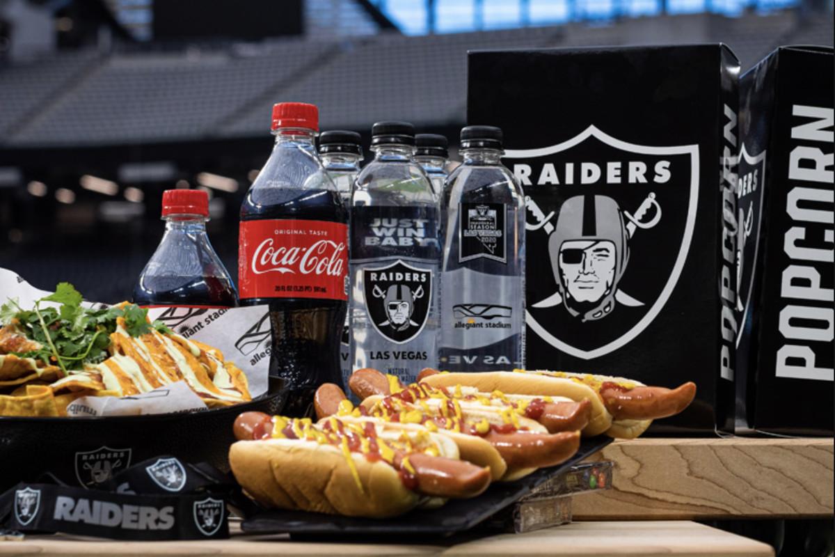 Hot dogs, sodas, nachos, and Raiders popcorn