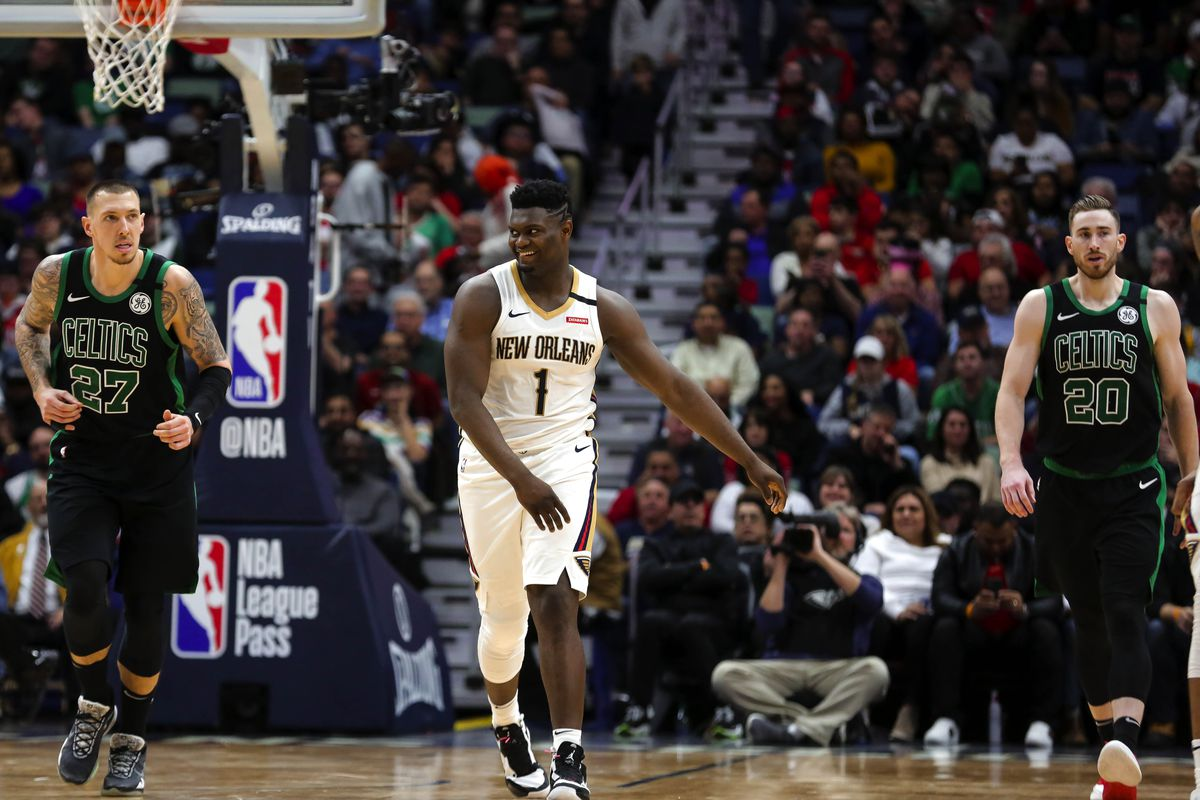 New Orleans Pelicans forward Zion Williamson reacts during the second half against the Boston Celtics at the Smoothie King Center.