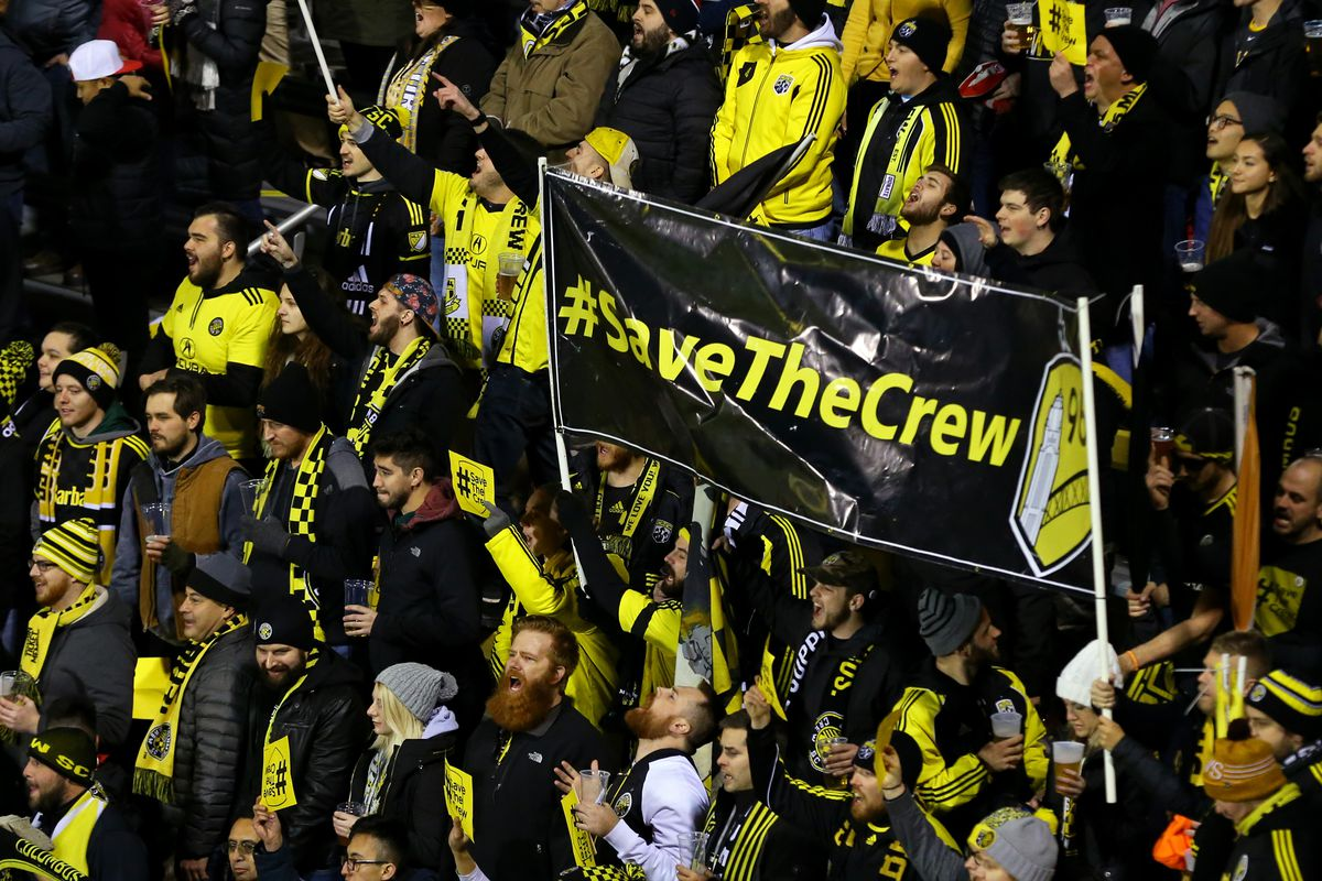 """Columbus Crew fans holding a """"Save The Crew"""" banner in the stands during the 92684eb58"""