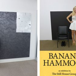 """""""We started the night by heading to The Still House collective exhibition, Banana Hammock, to support our favorite NY-based artist collective. The Still House is compiled of eight NY artists, and a handful of them were born in our hometown, LA. Lisa is in"""