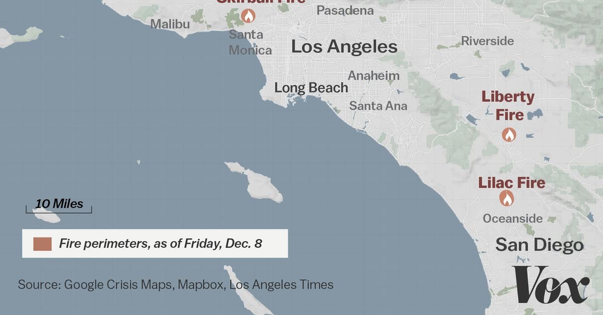 Map where Southern Californias massive blazes are burning Vox