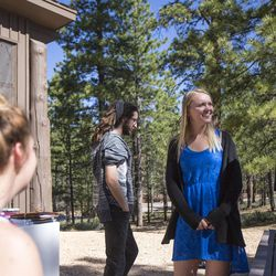 Meleeza Hall, Eric Meeks, Amy Auble and Gabi Sheeley talk after the 9:30 a.m. nondenominational Christian church service in Bryce Canyon National Park, Sunday, June 18, 2017.