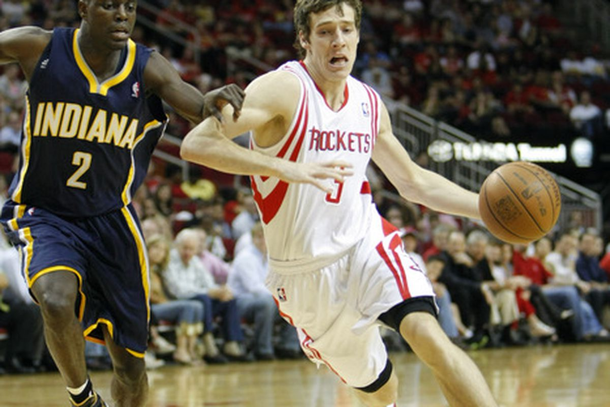 Apr 1, 2012; Houston, TX, USA; Houston Rockets guard Goran Dragic (3) drives to the basket against the Indiana Pacers in the first quarter at the Toyota Center. Mandatory Credit: Brett Davis-US PRESSWIRE