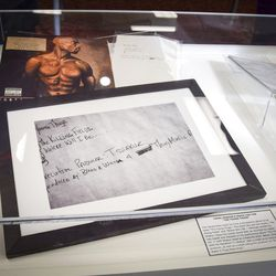 Items that belonged to rapper Tupac Shakur are now part of the Blockson Collection at Temple University, in Philadelphia on Nov. 1, 2018.   Erin Blewett /The Philadelphia Inquirer via AP