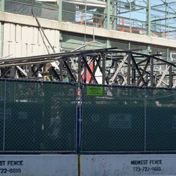 The remaining framework of the Draft Kings Sports Zone, at the corner of Addison and Sheffield