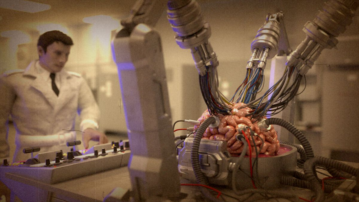 A computer-rendered image of a disembodied brain hooked up to a series of wires and tubes, with a white-coated man at a dashboard of switches and dials out of focus in the background