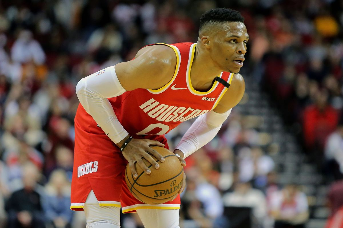 Houston Rockets guard Russell Westbrook handles the ball against the Philadelphia 76ers during the first quarter at Toyota Center.