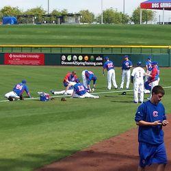 """Blue"" (visiting) team warms up pregame"