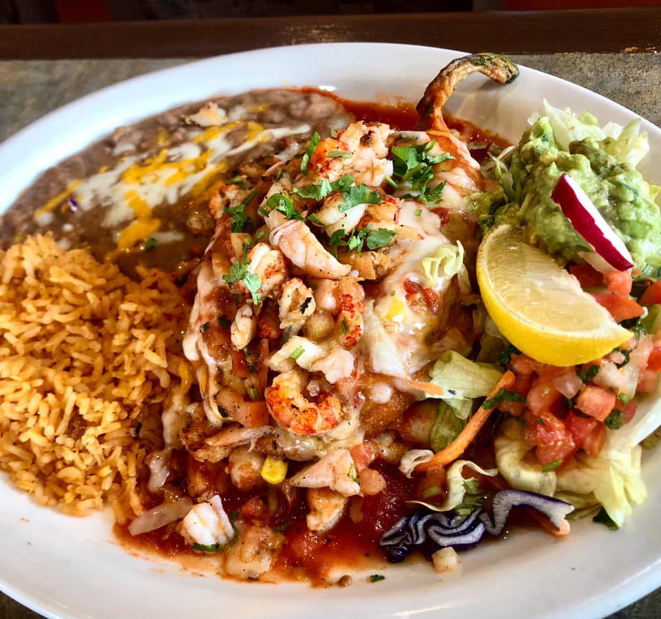Seafood stuffed chile available for delivery and takeout at Chavelo's Mexican Bar & Grill.