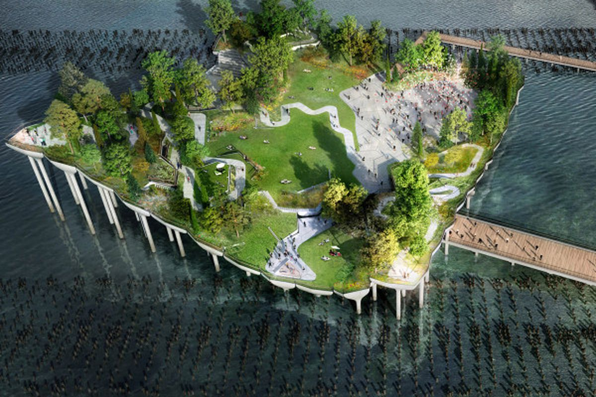 """A rendering of Pier 55. Images: <a href=""""http://nypost.com/2014/11/17/pier-55-gets-130m-bid-to-create-and-island-oasis/"""">NY Post</a>"""