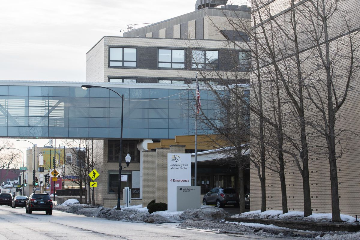 Community First Medical Center in the Portage Park neighborhood, pictured in February. Nurses plan to strike for one day Monday.