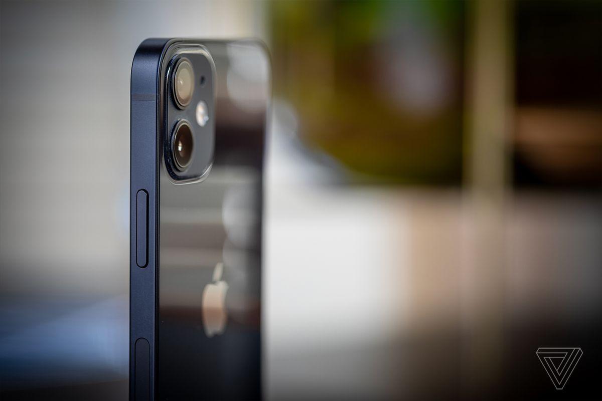 The iPhone 12 mini has flat aluminum rails on the side