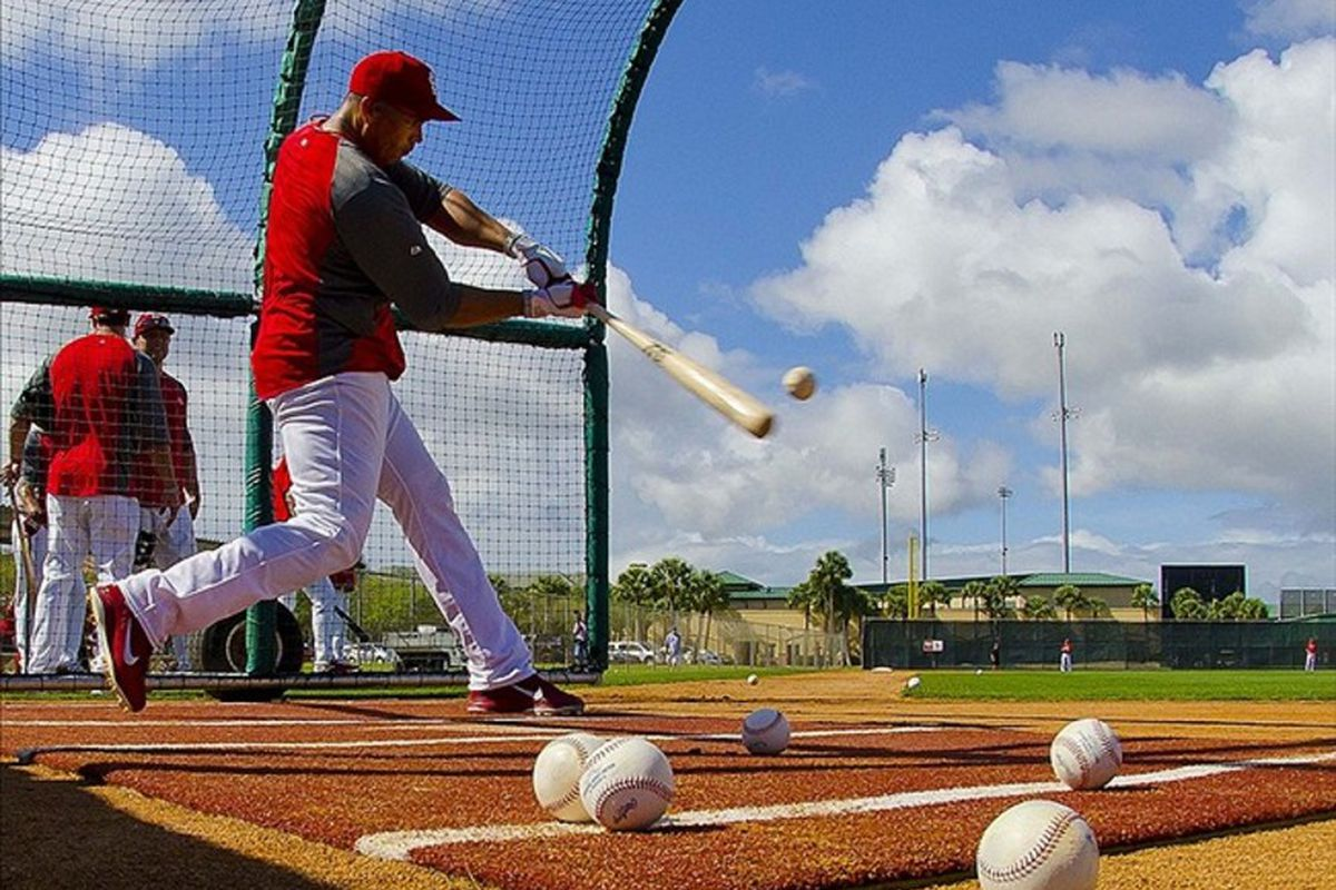 Mar 14, 2012; Jupiter, FL. St. Louis Cardinals right fielder Carlos Beltran (3) takes batting practice before the game against the Houston Astros at Roger Dean Stadium. The Astros defeated the Cardinals 4-3. Mandatory Credit: Scott Rovak-US PRESSWIRE