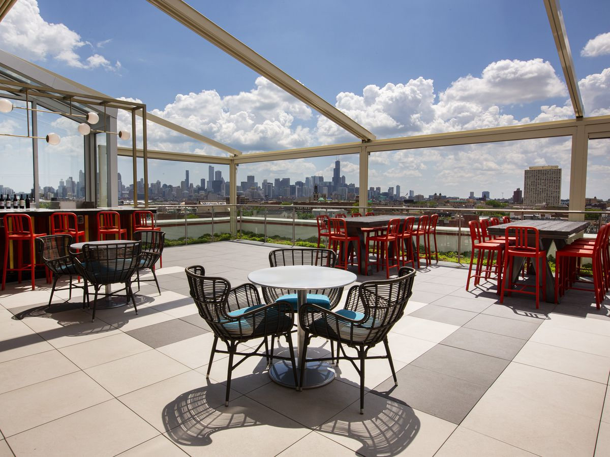 A rooftop patio bar.