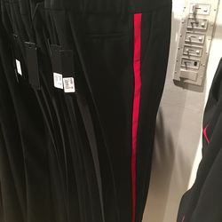Pants with strip detail, $144