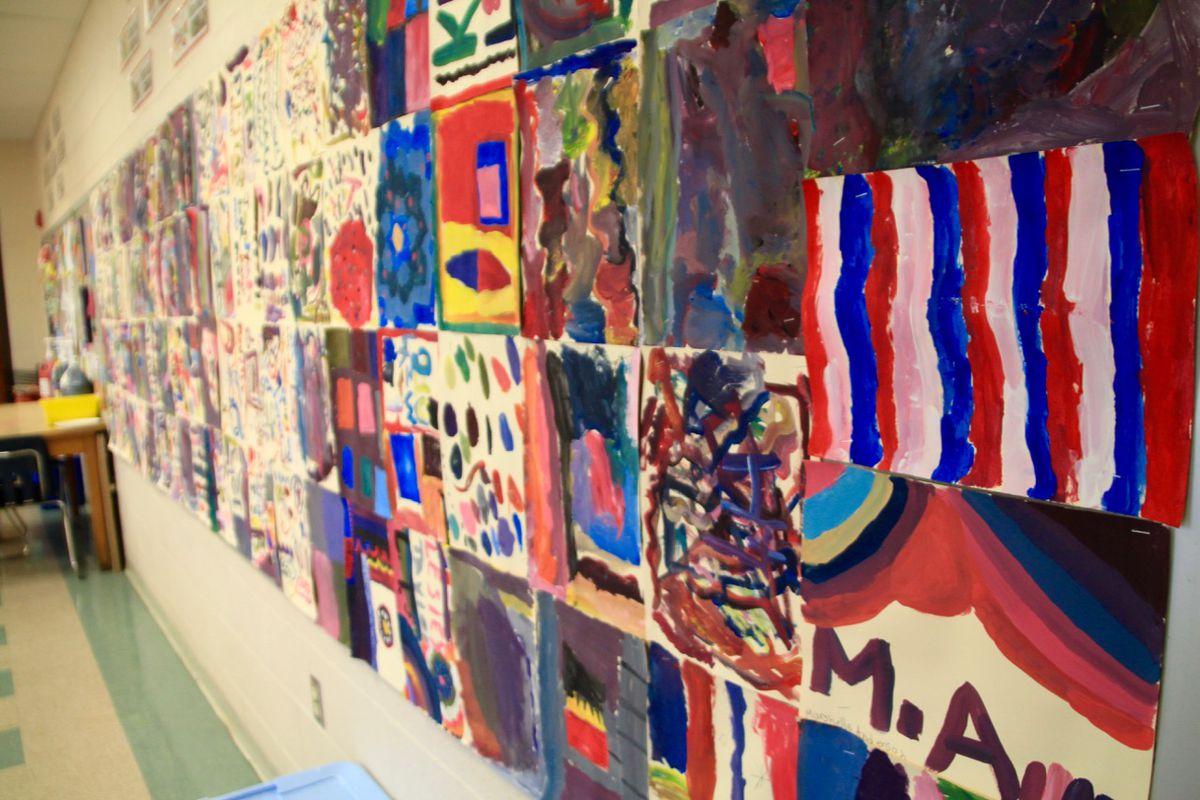 Colorful artwork adorns Barton Schnadelbach's Memphis classroom.