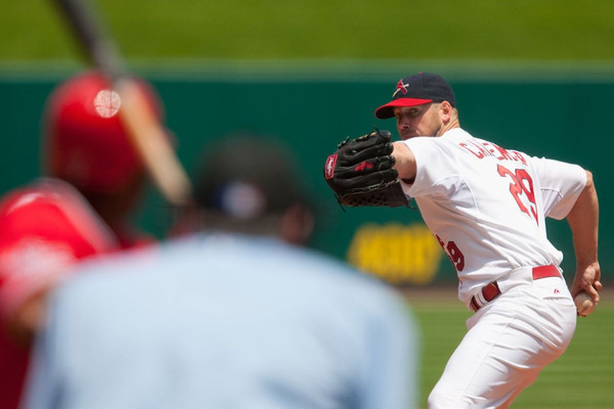 Chris Carpenter is 9-3 with a 2.03 ERA in his career against the Cincinnati Reds. (Photo by Dilip Vishwanat/Getty Images)