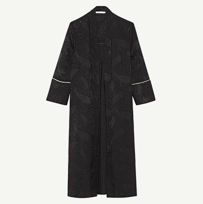 Black pleated jacquard kimono coat.