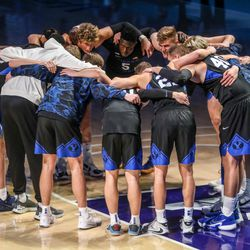 The Brigham Young Cougars huddle during a game against the Saint Mary's Gaels in Provo on Saturday, Feb.27, 2021.