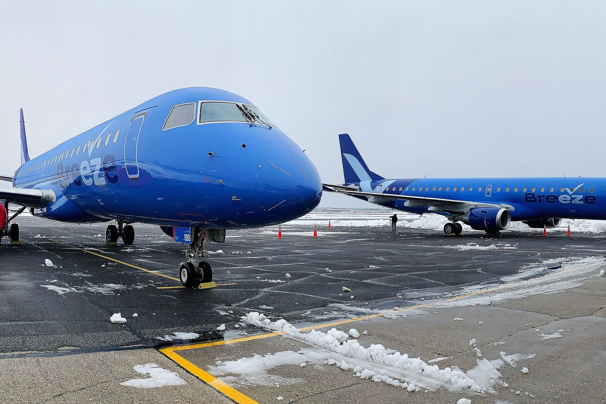 Utah native David Neeleman's new Breeze airlines airplanes are pictured.