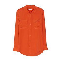 "Equipment ""Signature"" shirt in Spicy Orange, <a href=""http://www.equipmentfr.com/shop/signature-spicy-orange"">$208</a>"