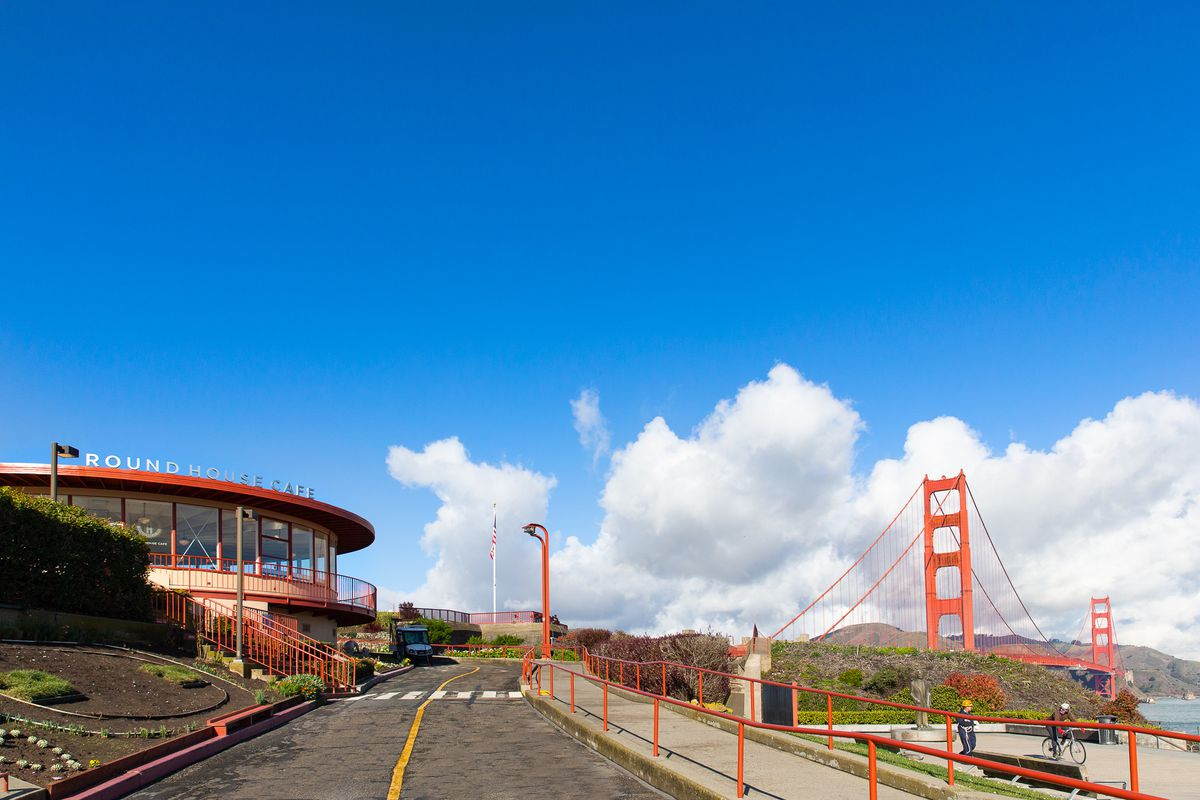 Round House Cafe with Golden Gate Bridge