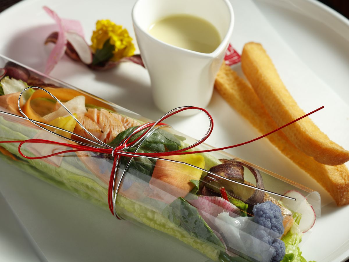 A salad wrapped in a husk