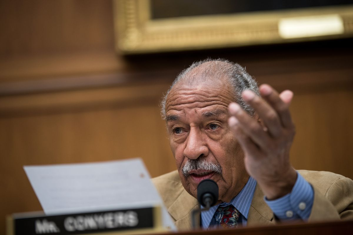 Rep. John Conyers (D-MI) questions witnesses during a House Judiciary  Committee hearing concerning the oversight of the US refugee admissions  program, ...