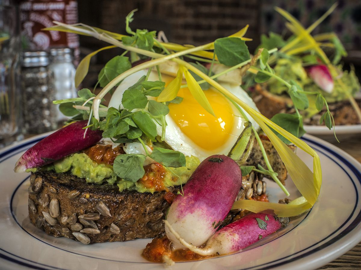 Avocado toast and other vegetarian delights as served at Duke's Grocery, in Washington, DC.