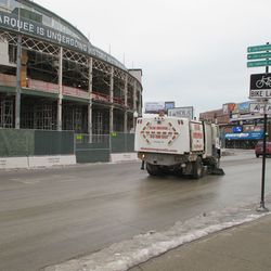Thu 1/7: street sweeper making its regular dust suppressing rounds -