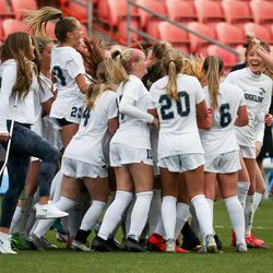Ridgeline and Ogden face off in the 4A girls soccer state championship game at Rio Tinto Stadium in Sandy on Friday, Oct. 23, 2020.